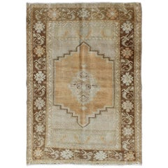 Vintage Turkish Oushak Carpet with Beautiful Floral Motifs in Tan, Camel & Gray