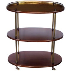 Handsome English Edwardian Three-Tier Mahogany Oval Etagere with Brass Mounts