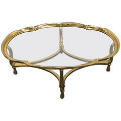 La Barge Solid Brass and Glass Coffee Table