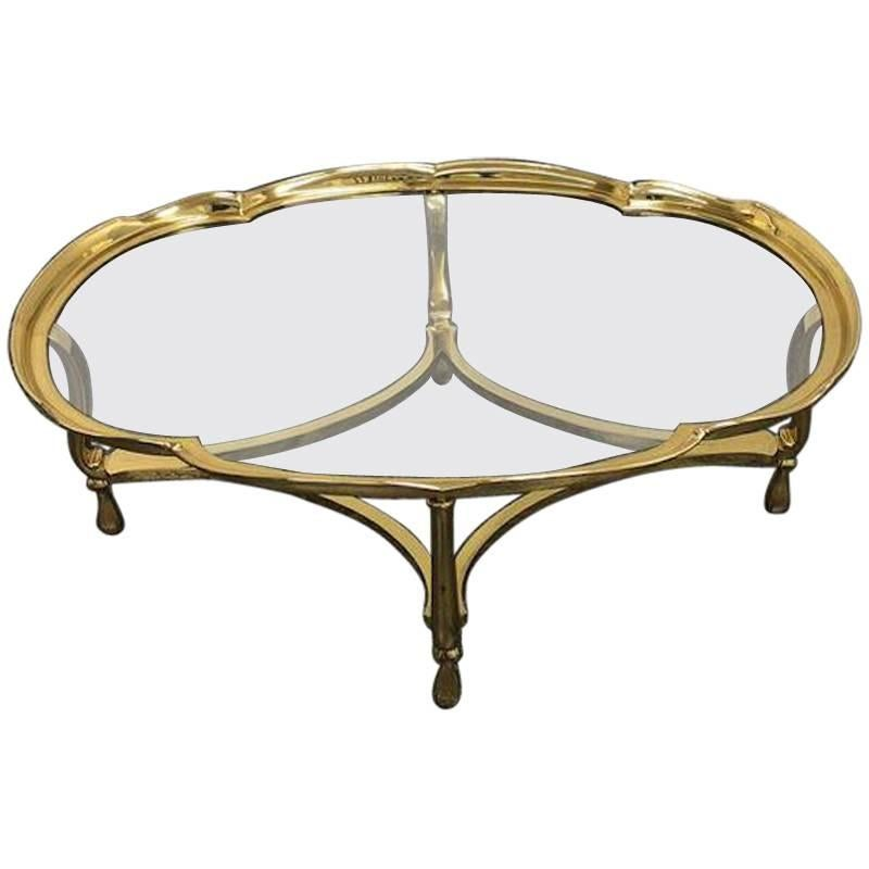 Elegant La Barge Solid Brass And Glass Coffee Table