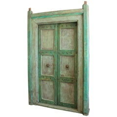 Indian Neoclassical Pale Green Painted Doors and Door Surround