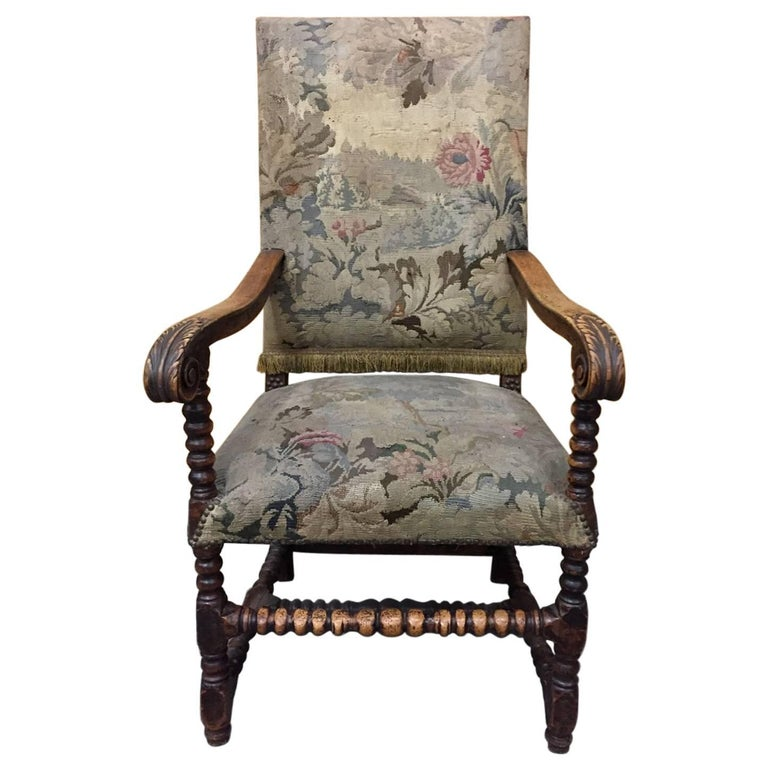 Louis XIII Style Walnut Armchair with Tapestry Upholstery