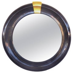 Overscale Lacquered Goatskin Beveled Mirror Attributed to Karl Springer