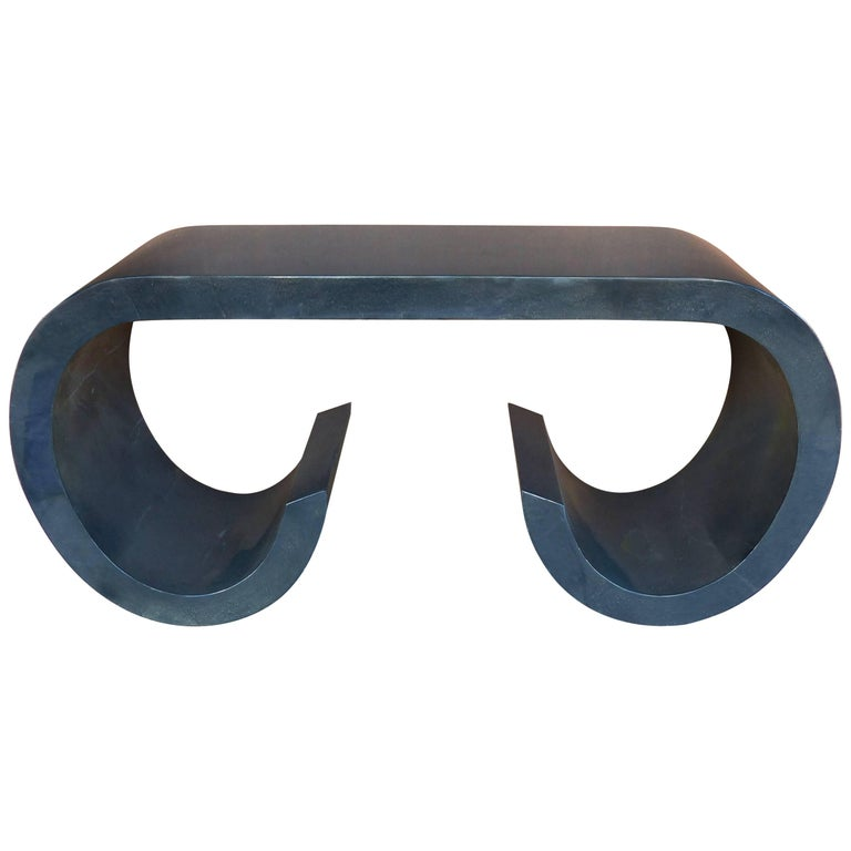 Midcentury Lacquered Goatskin Console Table in the style of Karl Springer