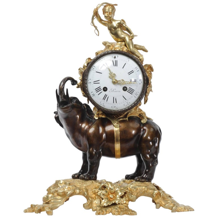 Antique French Bronze and Ormolu Clock, Elephant and Cupid