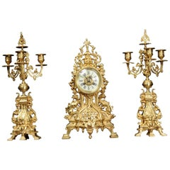 Antique French Gilt Bronze Gothic Clock Set