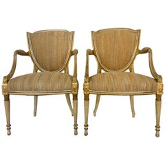 Pair of Fine 18th Century French Louis XVI Shield Giltwood and Leather Armchairs