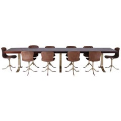 Reclaimed Hardwood Table on Sand Cast Brass Base with 10 Chairs by P. Tendercool