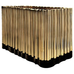 Brass Tubes Night Stand with Polished Gold Plated Brass Tubes