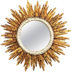 1940s French Baroque Style Silver and Gold Leaf Giltwood Large Sunburst Mirror