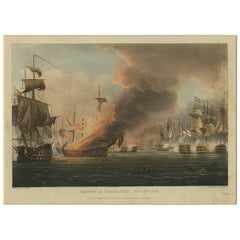 Antique Print of the Battle of Trafalgar 'Pl. III' by T. Sutherland, 1816