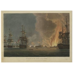 Antique Print of the Battle of the Nile by Bailey '1816'