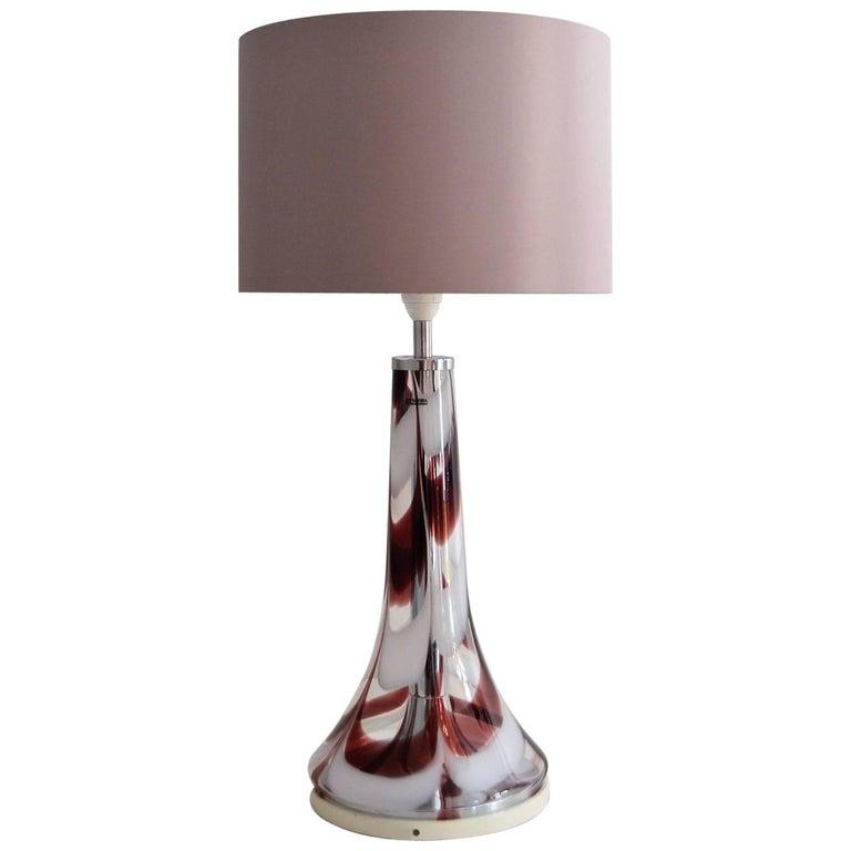 Italian Glass and Chrome Table Lamp by Esperia, 1970s