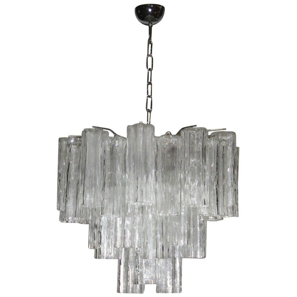 Chandelier Murano Art Glass Venini Tronchi Italian Design Midcentury