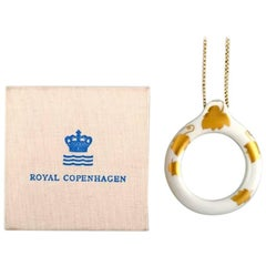 Rare Royal Copenhagen Magnifying Glass, Porcelain Decorated with Leaves in Gold