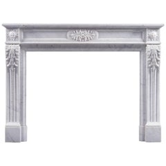 Antique French Louis XVI Antique Fireplace in Statuary Marble