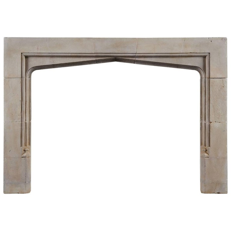 Antique 17th Century Style Limestone Fireplace Frame For Sale
