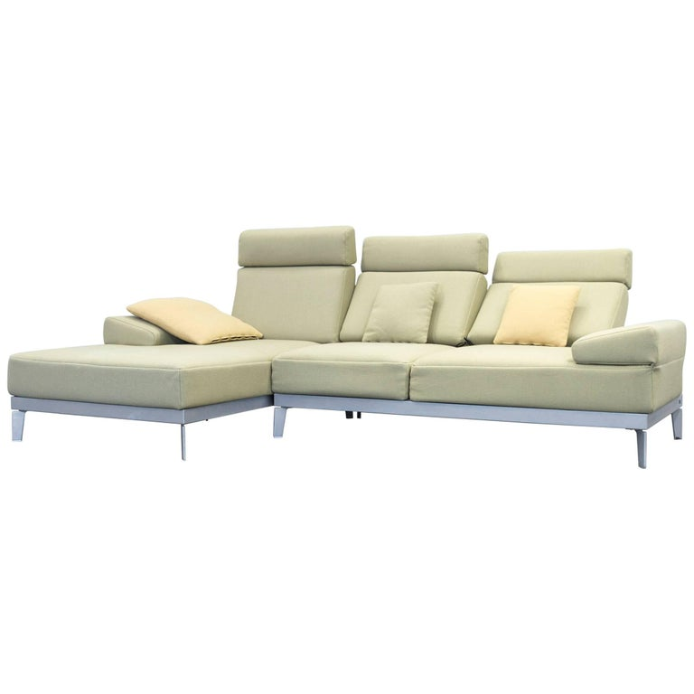 Rolf Benz Plura Designer Corner Sofa Fabric Green Function