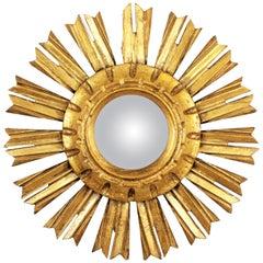 Unusual Spanish, 1940s Giltwood Mini Sunburst Convex Mirror in Baroque Style