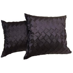 Pleated Silk Cushions Pleat Opal Pattern Color Dark Blue