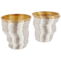 Two Contemporary Silver and Gilt Coiled Slinky Beakers by Nan Nan Liu