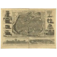 Antique Bible Plan of Ancient Jerusalem by S. Luchtmans, 1743