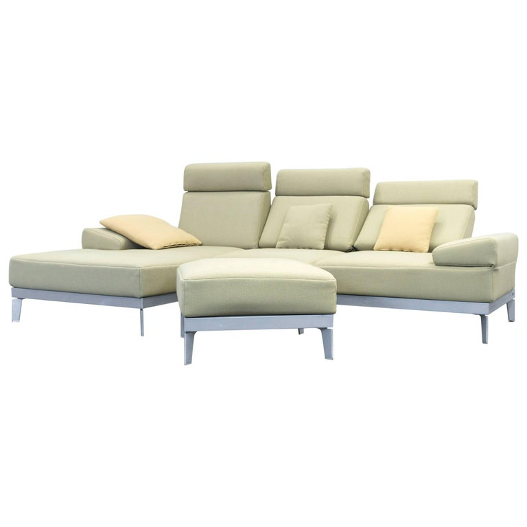 Rolf Benz Plura Designer Corner Sofa Set Fabric Green Function Couch Modern For