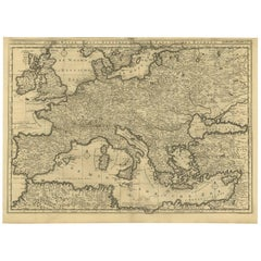 Antique Bible Map of Southern Europe by A. Schut, 1743