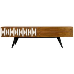 Scandinavian Low Sideboard with Midcentury Pattern, 1970s