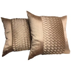 Silk Cushions with Pleated Centre Stripe Detail Color Pure Platinum