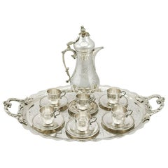 1900s Turkish Silver Coffee Service with Tray