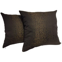 Silk Cushions Contemporary Jacquard Pattern Colour Black and Chocolate