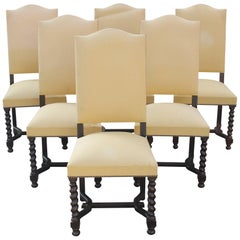 Set of Six Louis XIII Style Barley Twist Solid Walnut Dining Chairs, 1880s