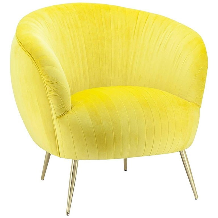 Diana Armchair in Yellow or Blue Soft or Black Soft Velvet