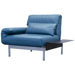 Rolf Benz Plura Designer Chair Leather Blue Function Couch Modern