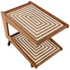 Midcentury Teak Bar Cart with Labyrinth Pattern, 1960s