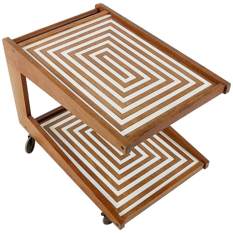 Midcentury Teak Bar Cart with Labyrinth Pattern, 1960s