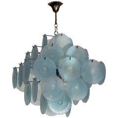 Original Mid-Century Modern Murano Azur Blue Chandelier, 1960s