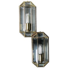 Geometric Mid-Century Modern Sconces in Brass, 1970s, Set of Two