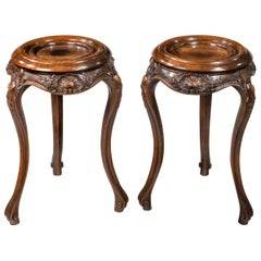 Pair of Mid-19th Century Walnut Bowl or Vase Stands