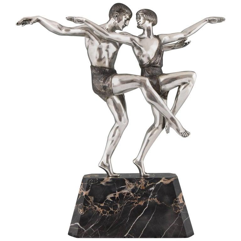 Art Deco Silvered Bronze Sculpture of a Dancing Couple by Pierre Le Faguays 1930