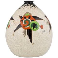 Art Deco Crackle and Enamel Globe Vase Orchies, France, 1930