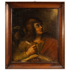 Italian Religious Painting Oil on Canvas St. John the Evangelist, 18th Century