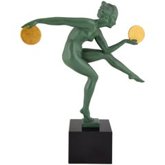 Art Deco Sculpture Nude Dancer with Discs by Marcel Bouraine, Derenne, 1930