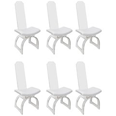 Set of Six Charles Hollis Jones Lucite Dining Chairs