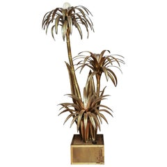 Maison Jansen Gilded Metal Palm Tree Floor Lamp