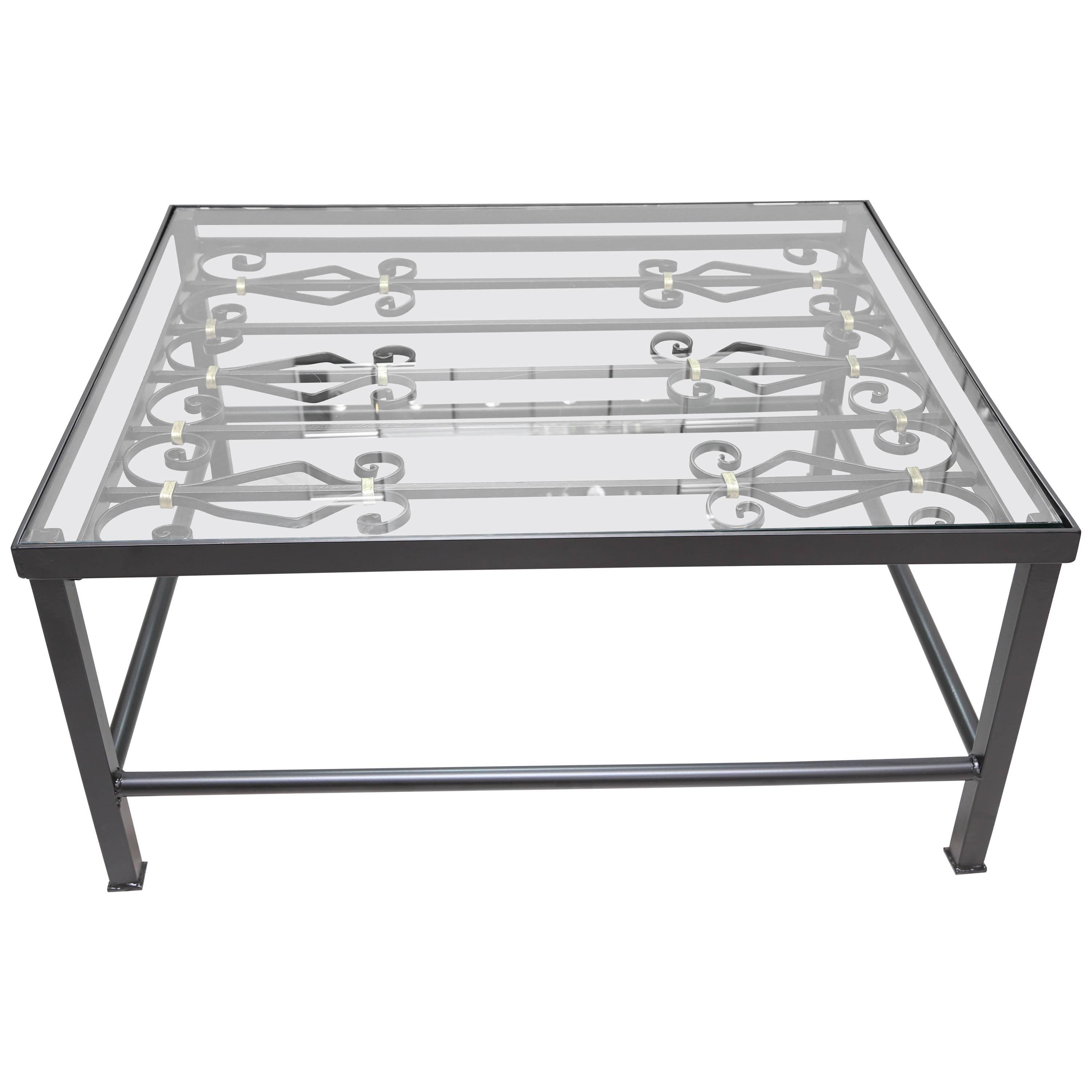 Black Wrought Iron Coffee Table For Sale