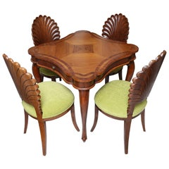 Italian Inlaid Game Table and Four Shell Back Chairs