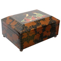 Vintage Japanese Motif Lacquered Box