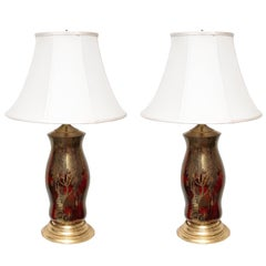 Pair of Oriental Style Decoupage Lamps